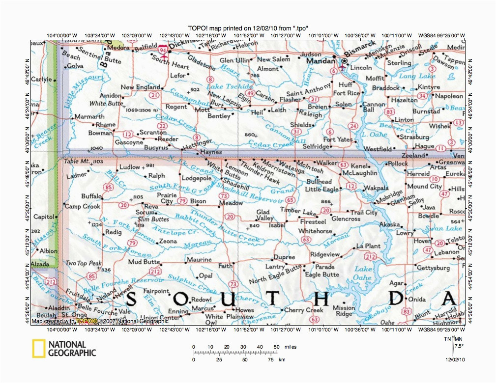 missouri river drainage basin landform origins in south dakota usa
