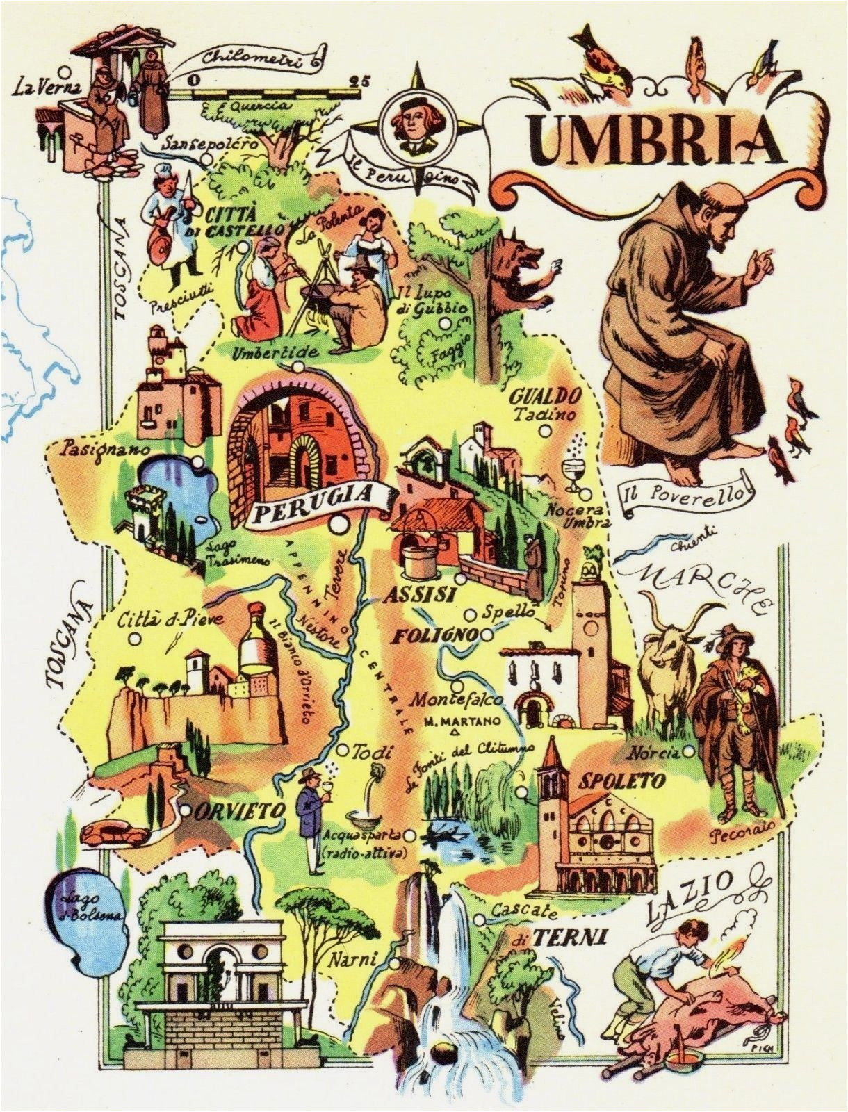 vintage umbria italy map picture map of italy artistic pictorial map
