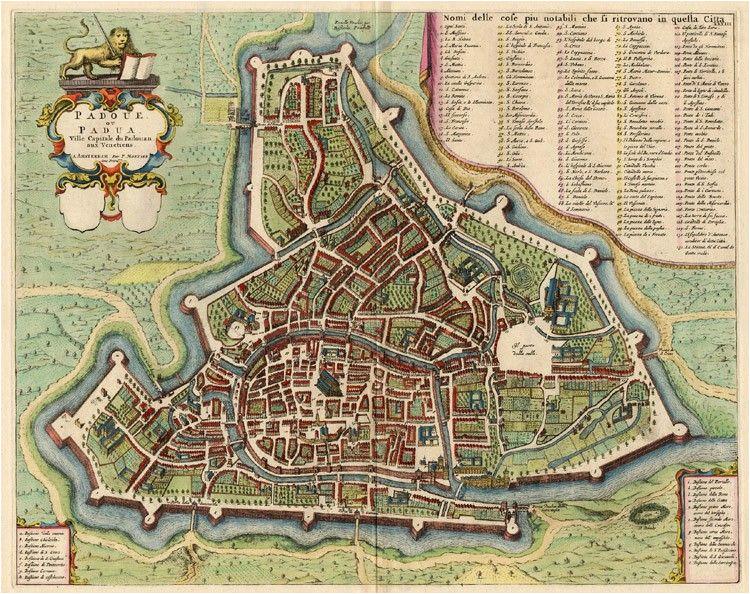 old antique map of padova by blaeu mortier sanderus antique