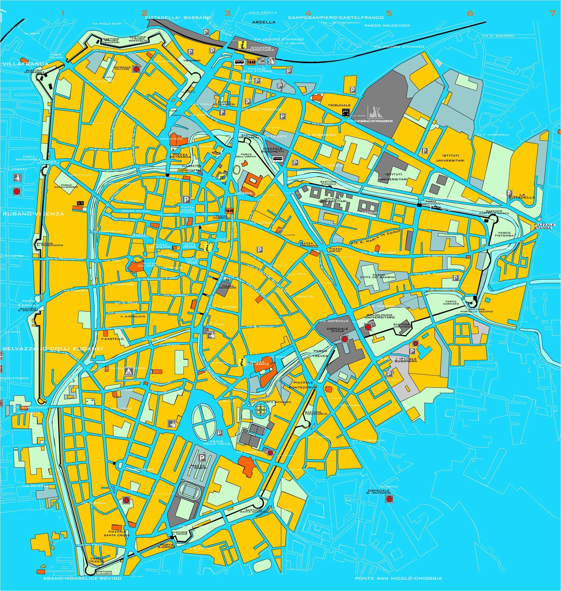 padova tourist map padova italy mappery venice padova