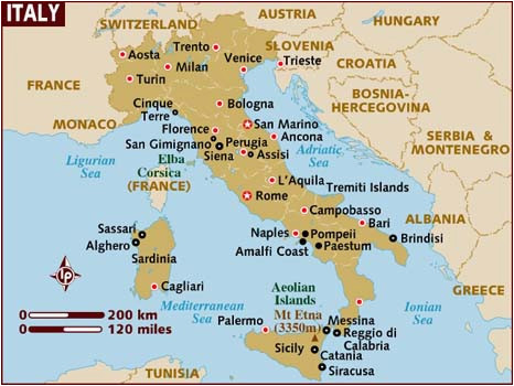 Map Of Sicily and southern Italy Map Of Italy