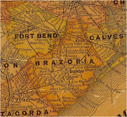brazoria county and ft bend county texas 1920s map texas history