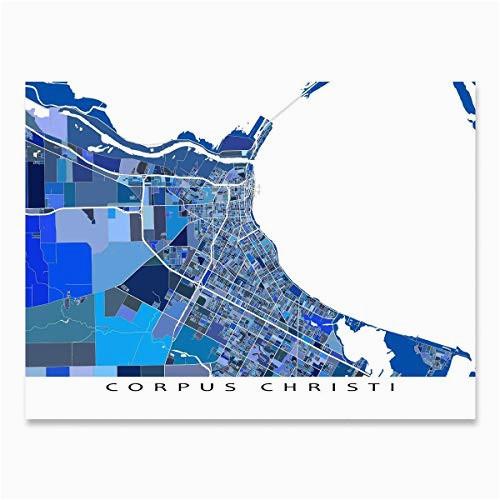 amazon com corpus christi map print texas usa city street art