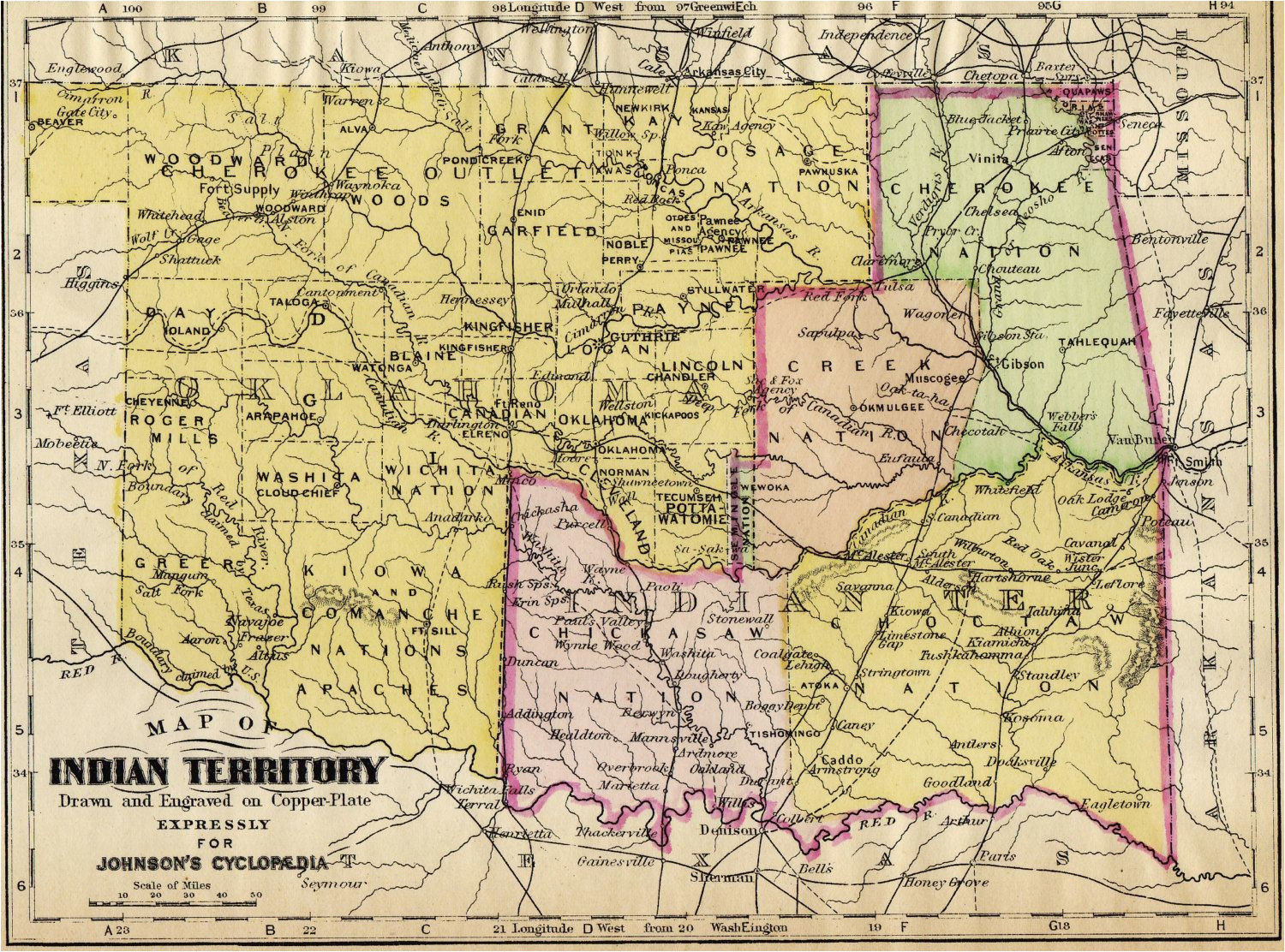 map of indian territory original colored antique map engraving