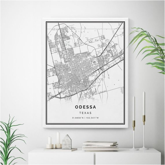 odessa map canvas print city maps wall art texas gift minimalistic