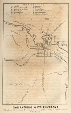 map of san antonio from the first battle of the alamo when it was