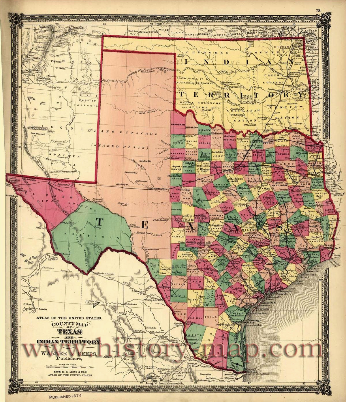 texas counties map published 1874 maps texas county map texas