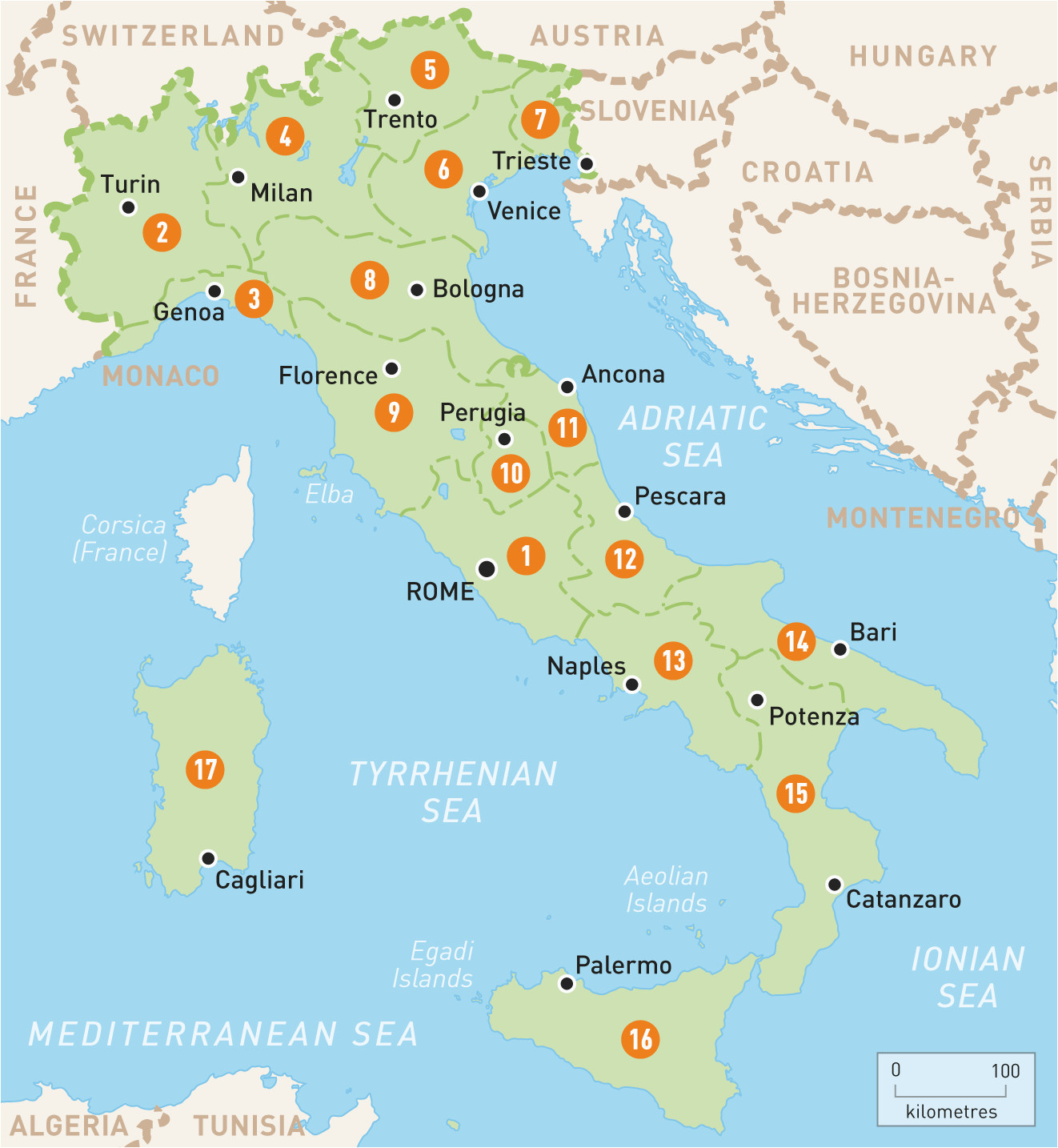 map of italy italy regions rough guides