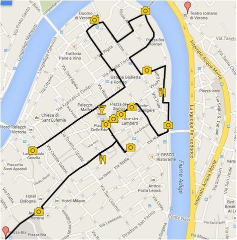 Map Of Verona Italy Romeo And Juliet Verona In One Day Italy