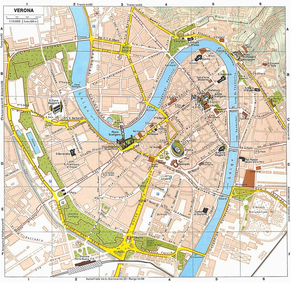 Map Of Verona Italy Romeo And Juliet Verona Tourist Map