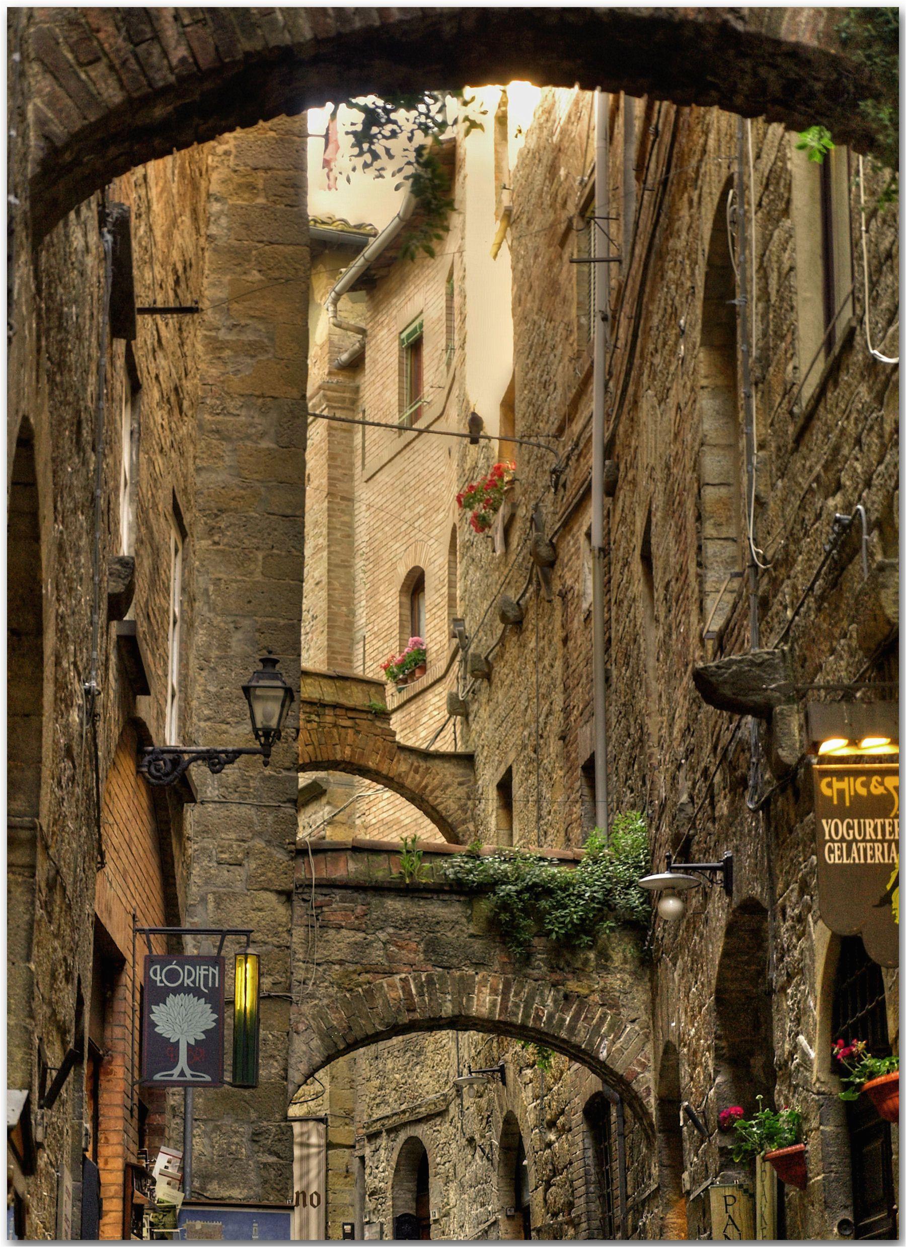 volterra tuscany italy charming small alley near the piazza dei