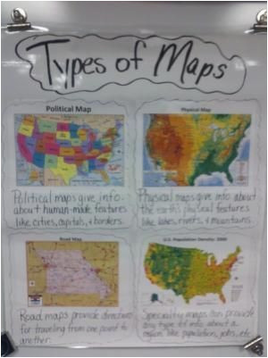 types of maps anchor chart for students to refer to helpful for our