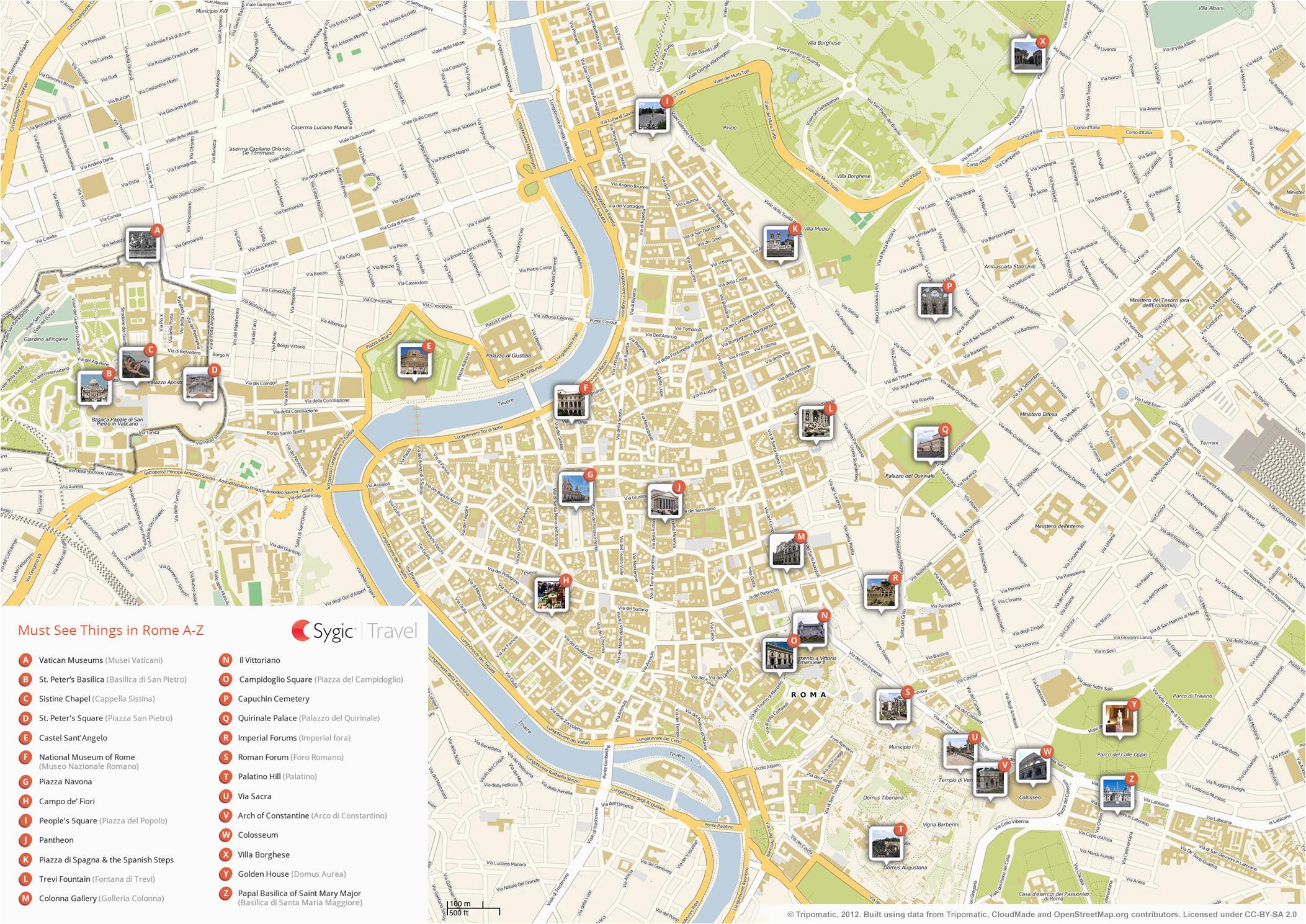 rome printable tourist map sygic travel