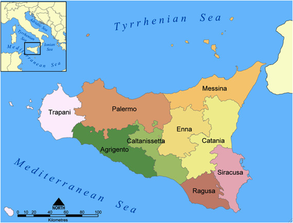 a snapshot of sicily located in the central mediterranean sea and