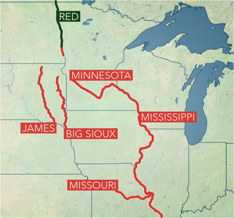 Minnesota Flooding Map Long Term Flooding Remains A Concern In Central Us as Rivers