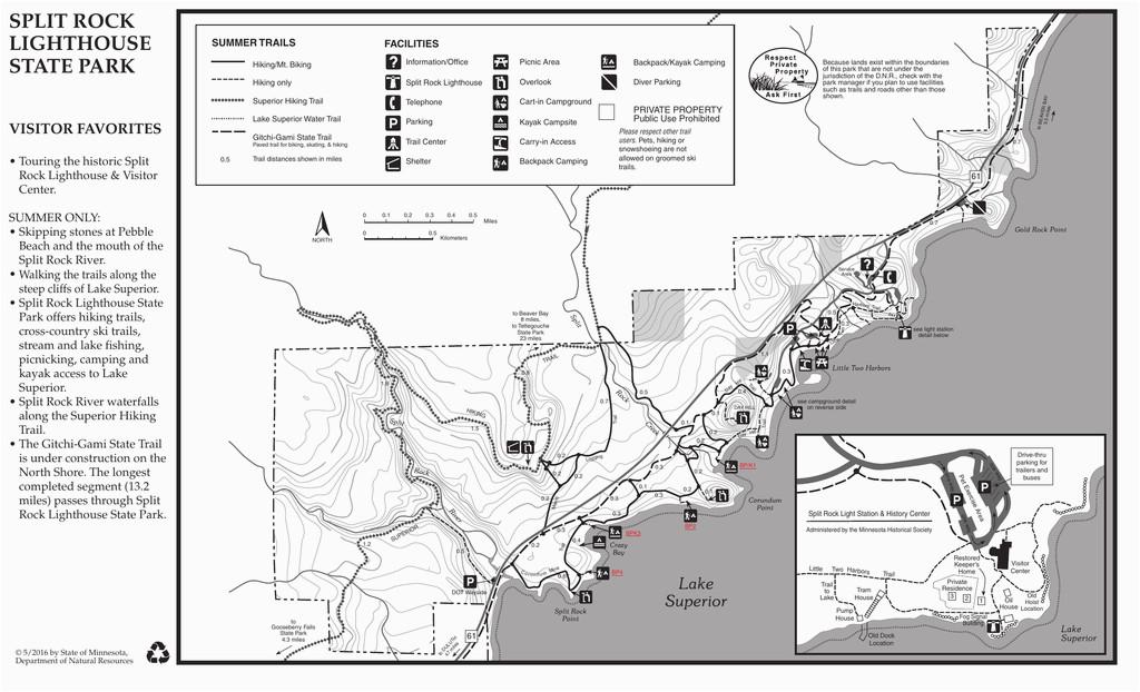 split rock lighthouse state park summer map