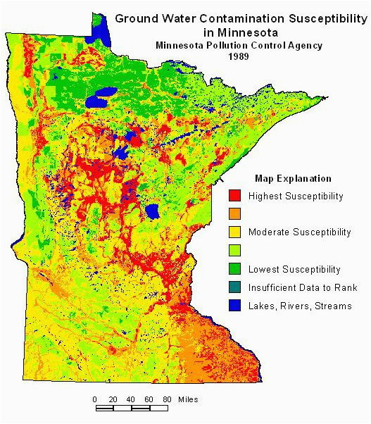 ground water contamination susceptibility in minnesota map via the