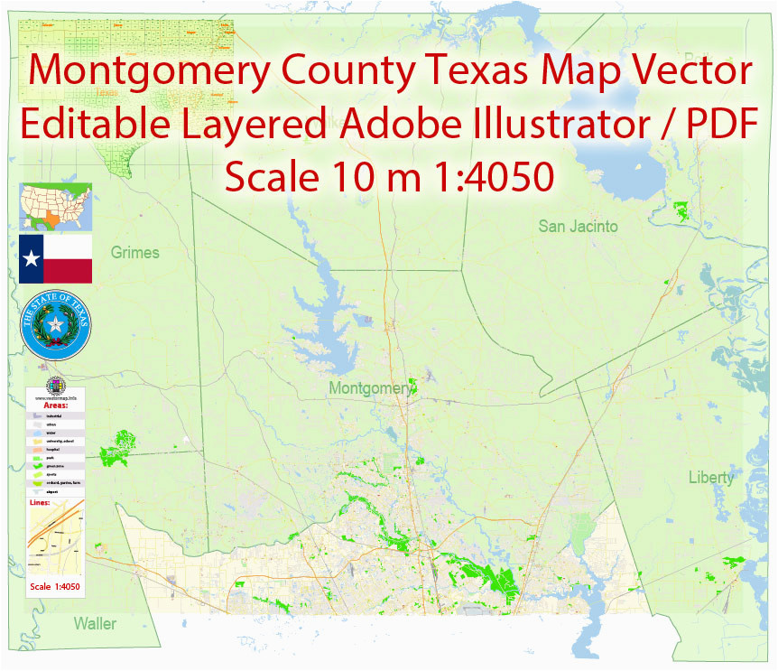 Montgomery County Texas Flood Map Montgomery County and Nearest Pdf Map Vector Texas Exact City Plan