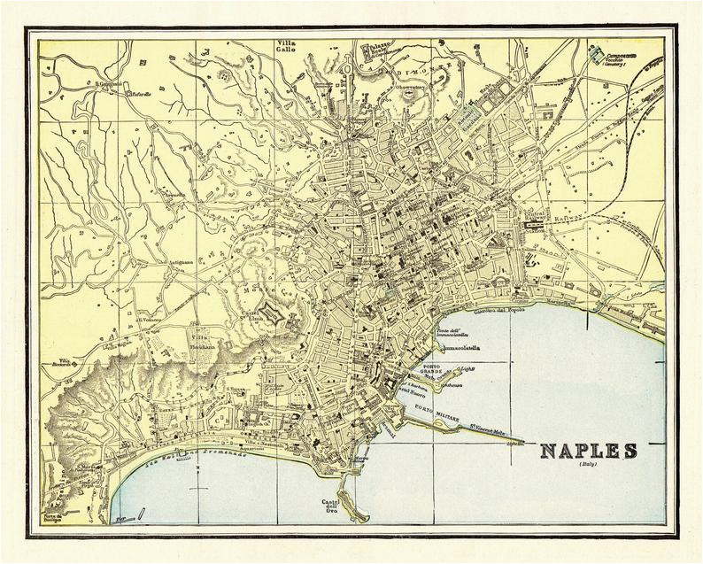 1895 antique naples italy city map reproduction print map of etsy