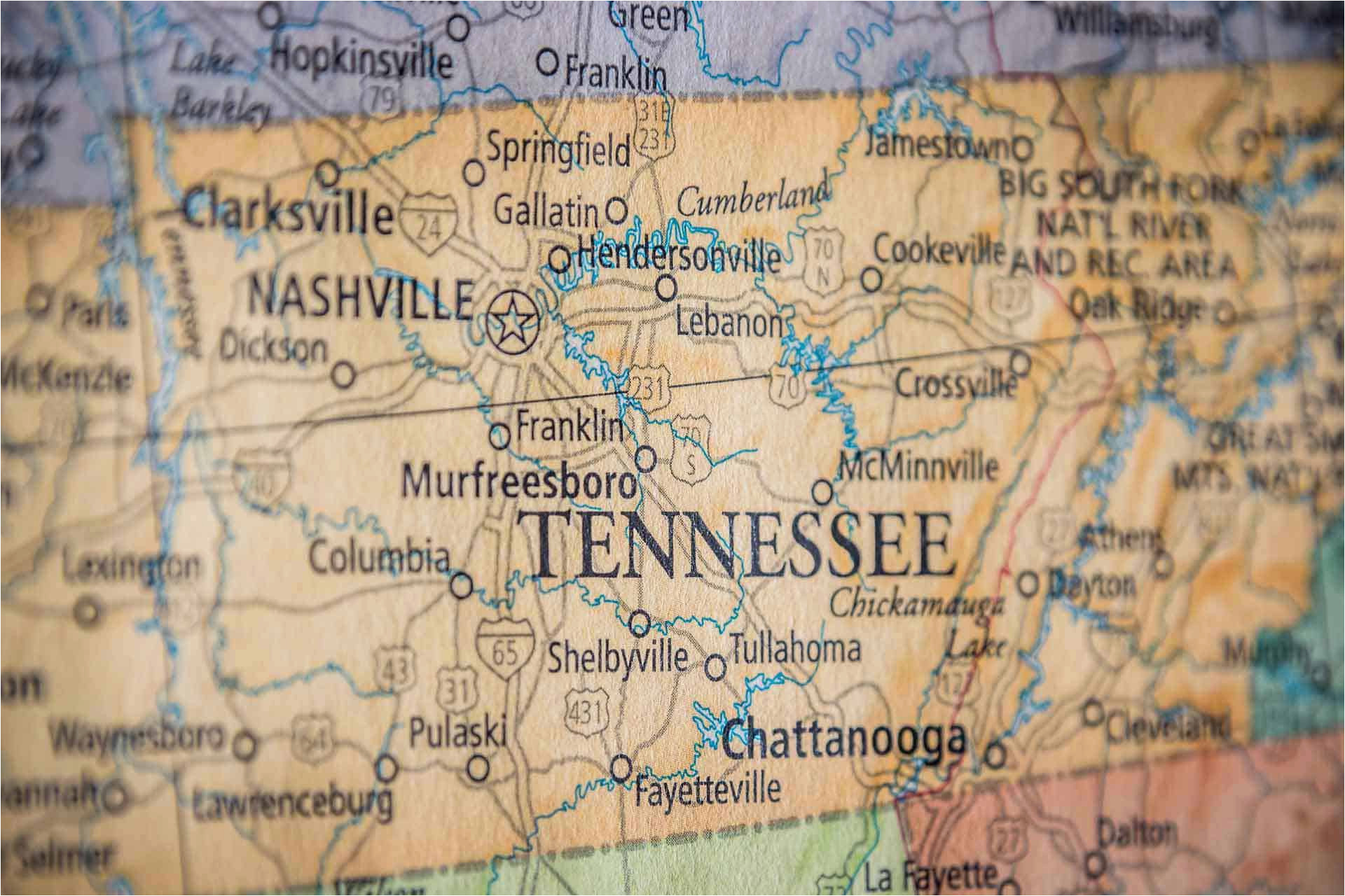 Nashville Tennessee Time Zone Map Old Historical City County and ...
