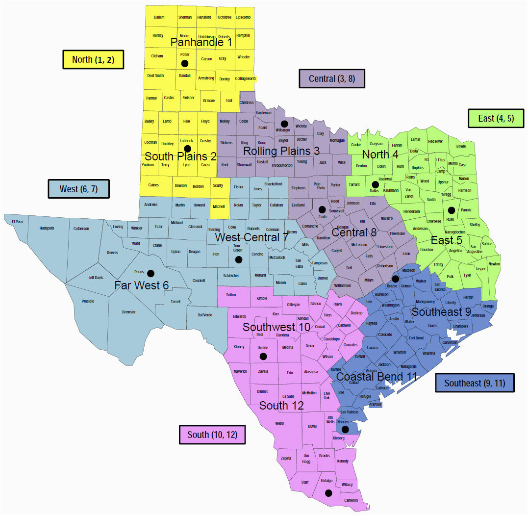 Map Of Texas 4 Regions Labeled.Natural Regions Of Texas Map Secretmuseum