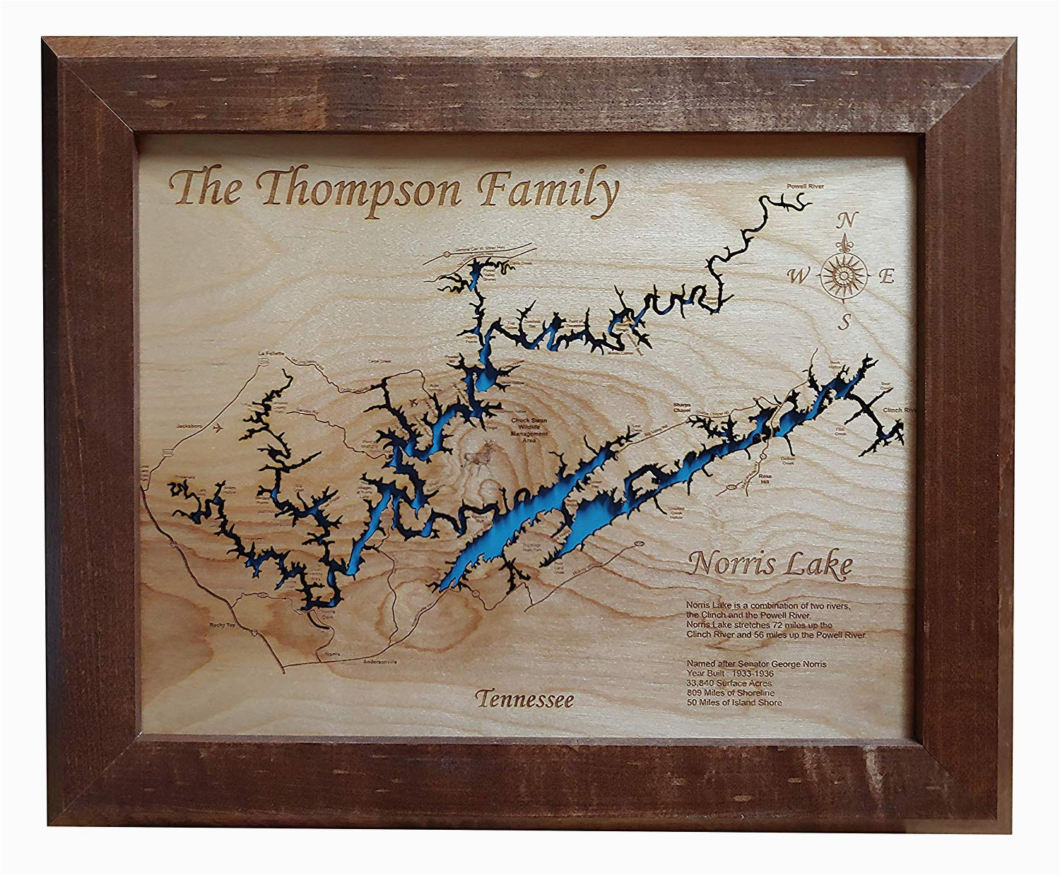 amazon com norris lake tennessee framed wood map wall hanging