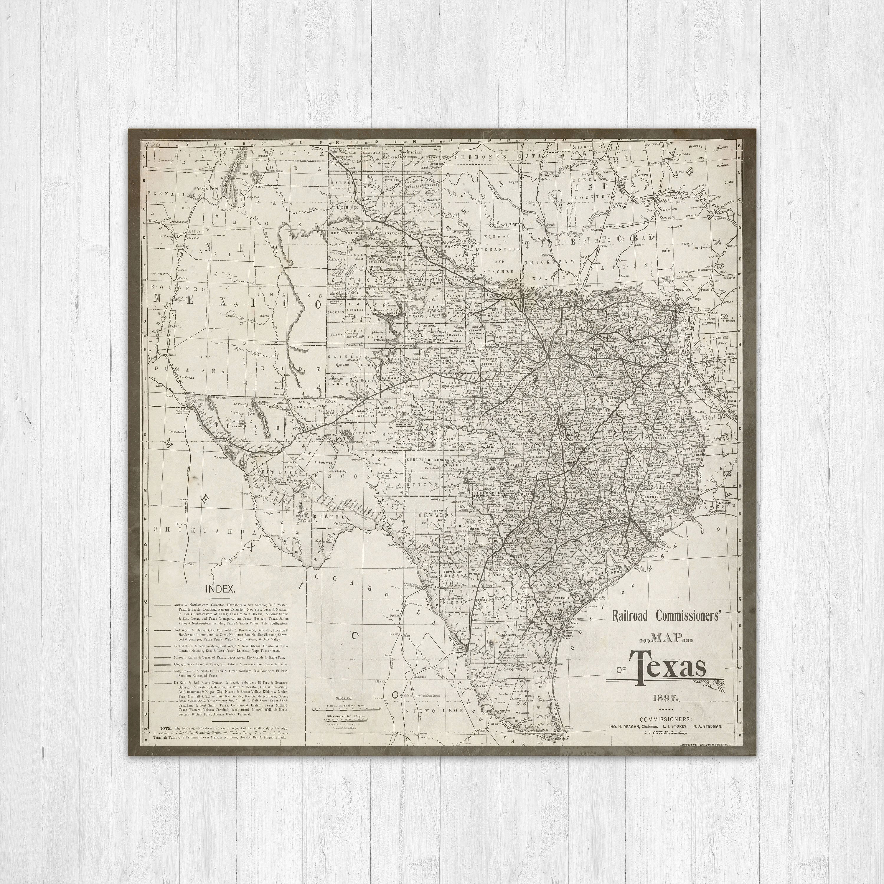 map of texas texas canvas map texas state map antique texas map