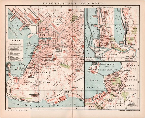 1898 trieste fiume and pula seaport old map antique by craftissimo