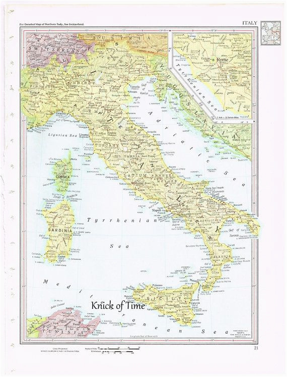 Old World Map Of Italy 1960 Vintage Map Italy by Knickoftime World Maps Vintage Maps