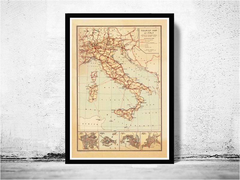 old map of italy touristic map italia 1931 in 2019 art italy map