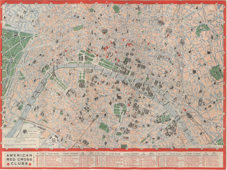 map paris american red cross circa 1944