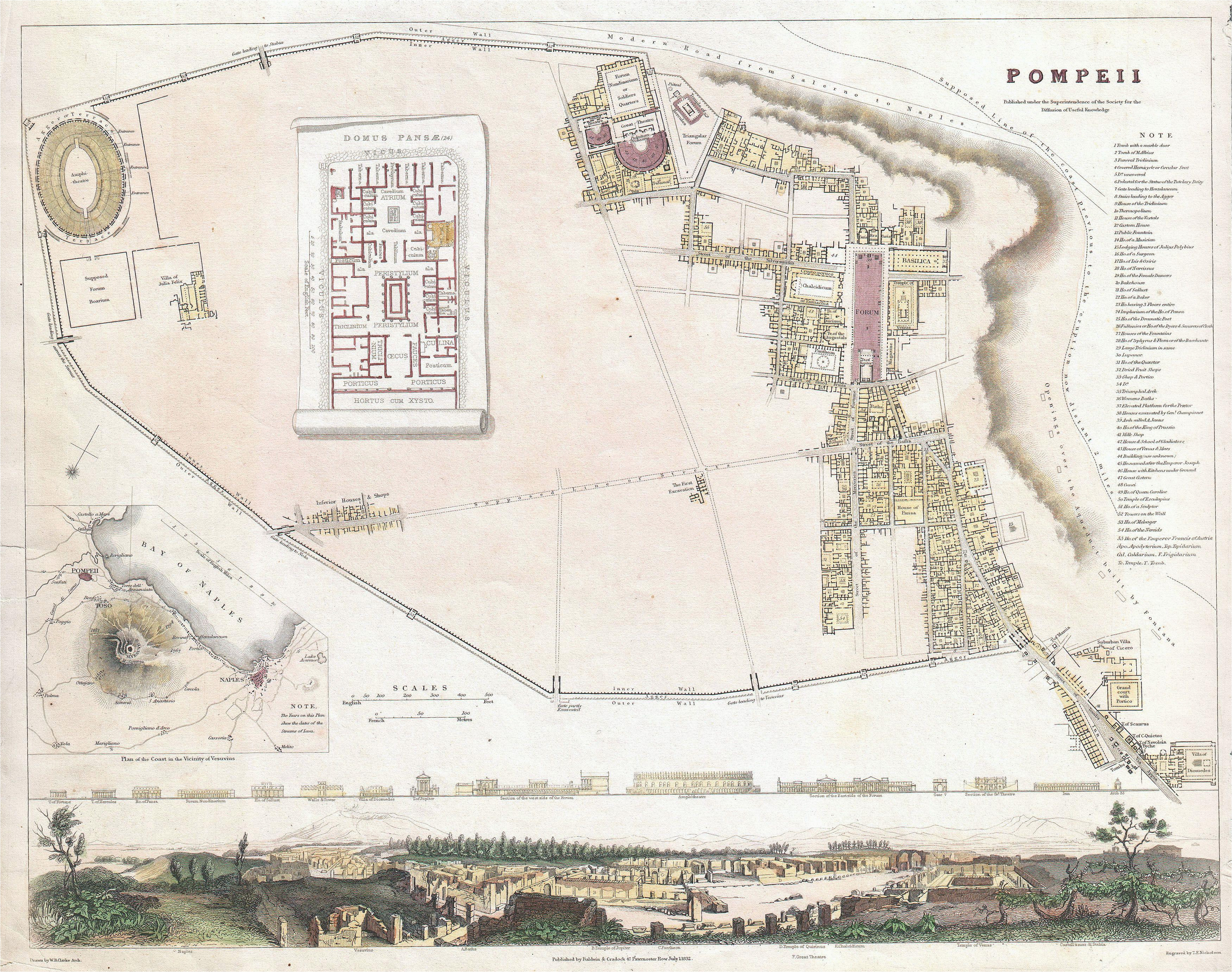 Pompei Italy Map File 1832 S D U K City Plan or Map Of Pompeii Italy Geographicus