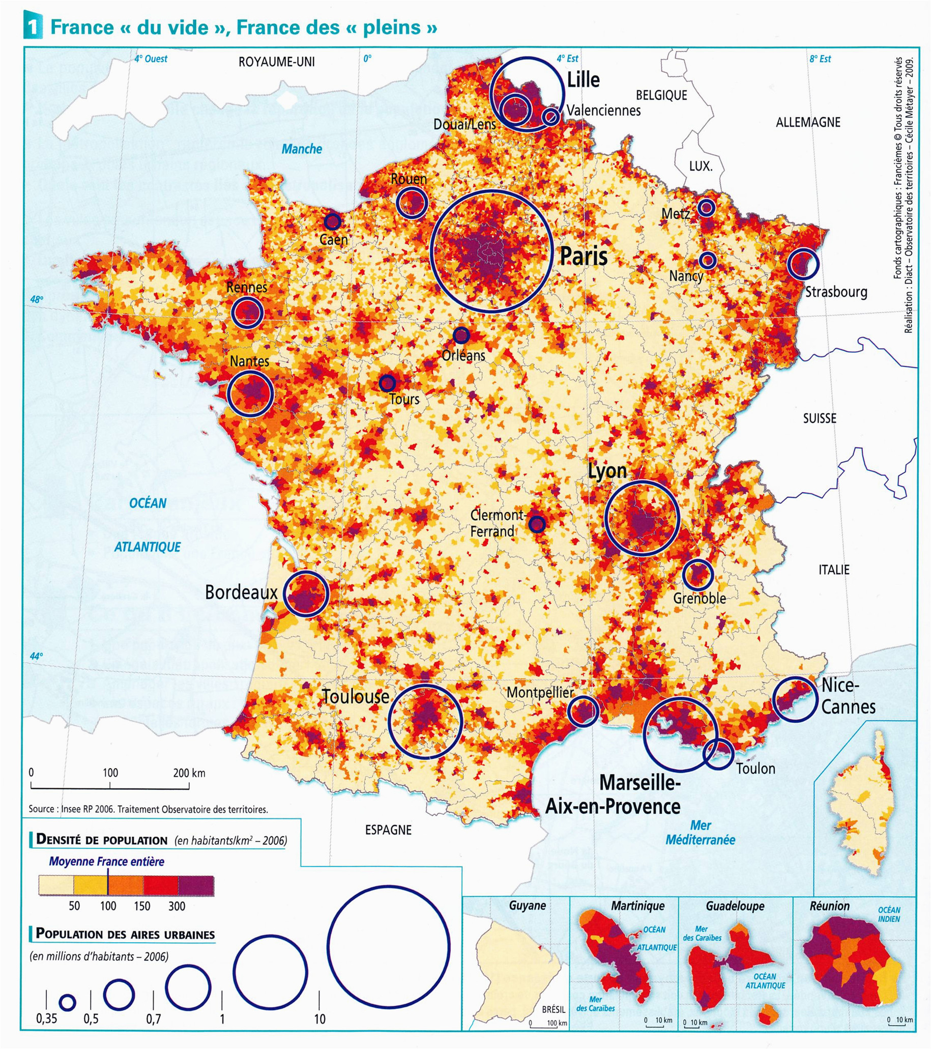 france population density and cities by cecile metayer map france