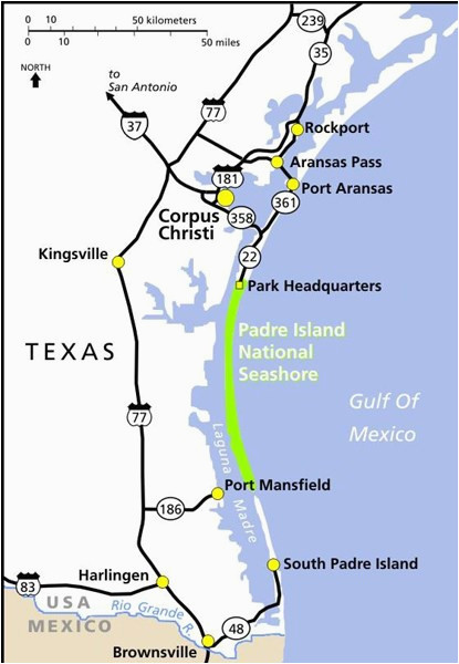 Port Aransas Texas Map Maps Padre island National Seas U S ... on