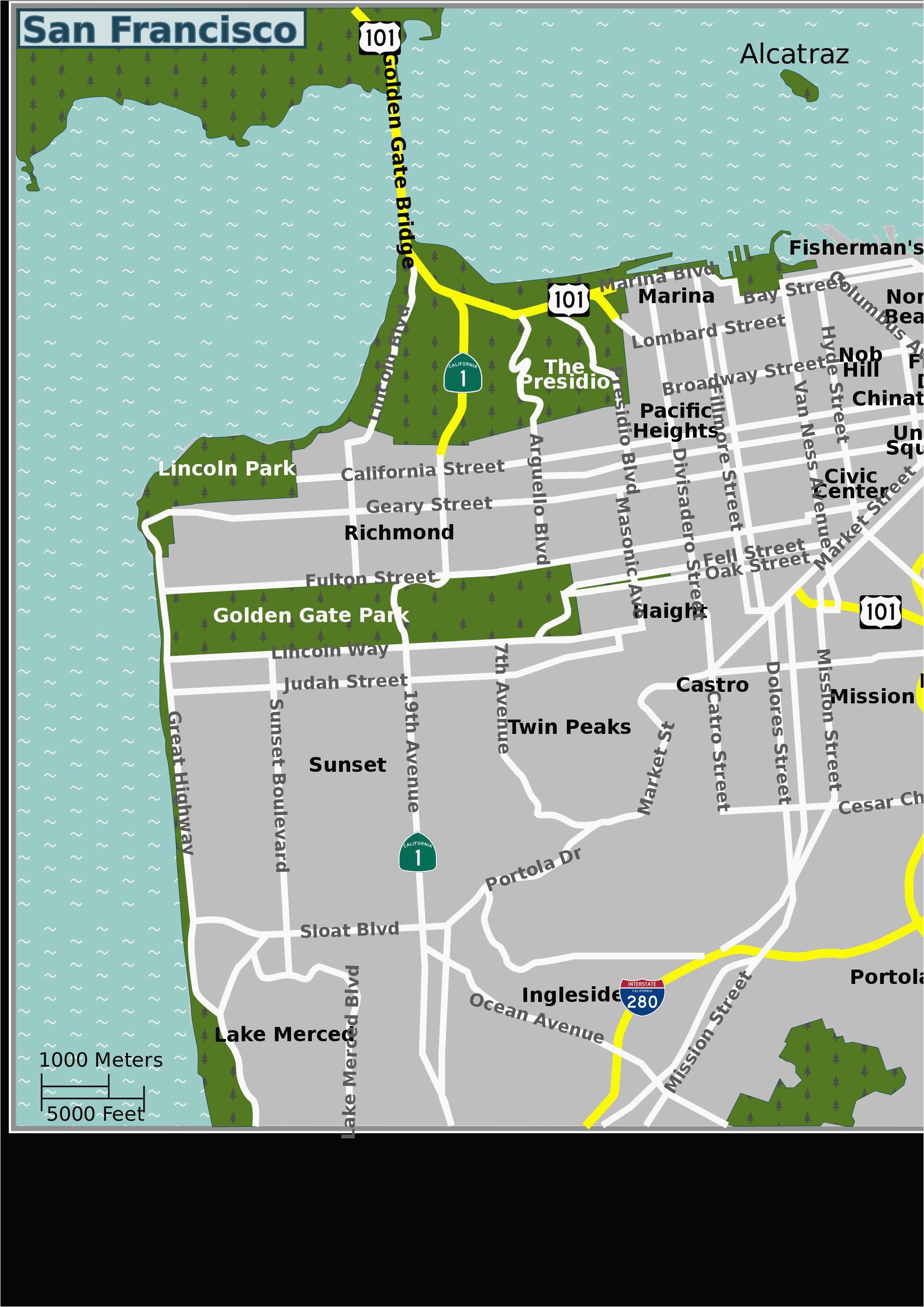 san francisco on a map of california secretmuseum