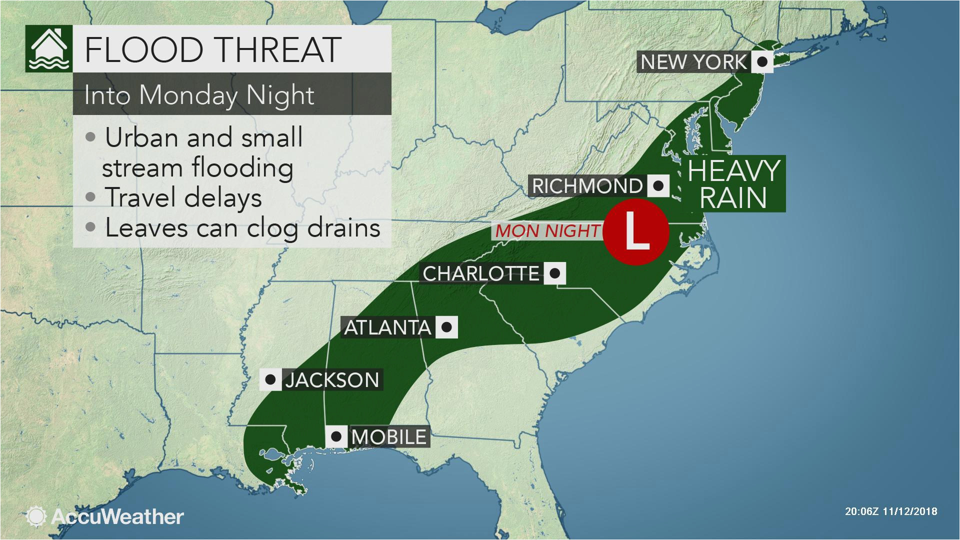 heavy rain to raise flood concerns in southern us early this week