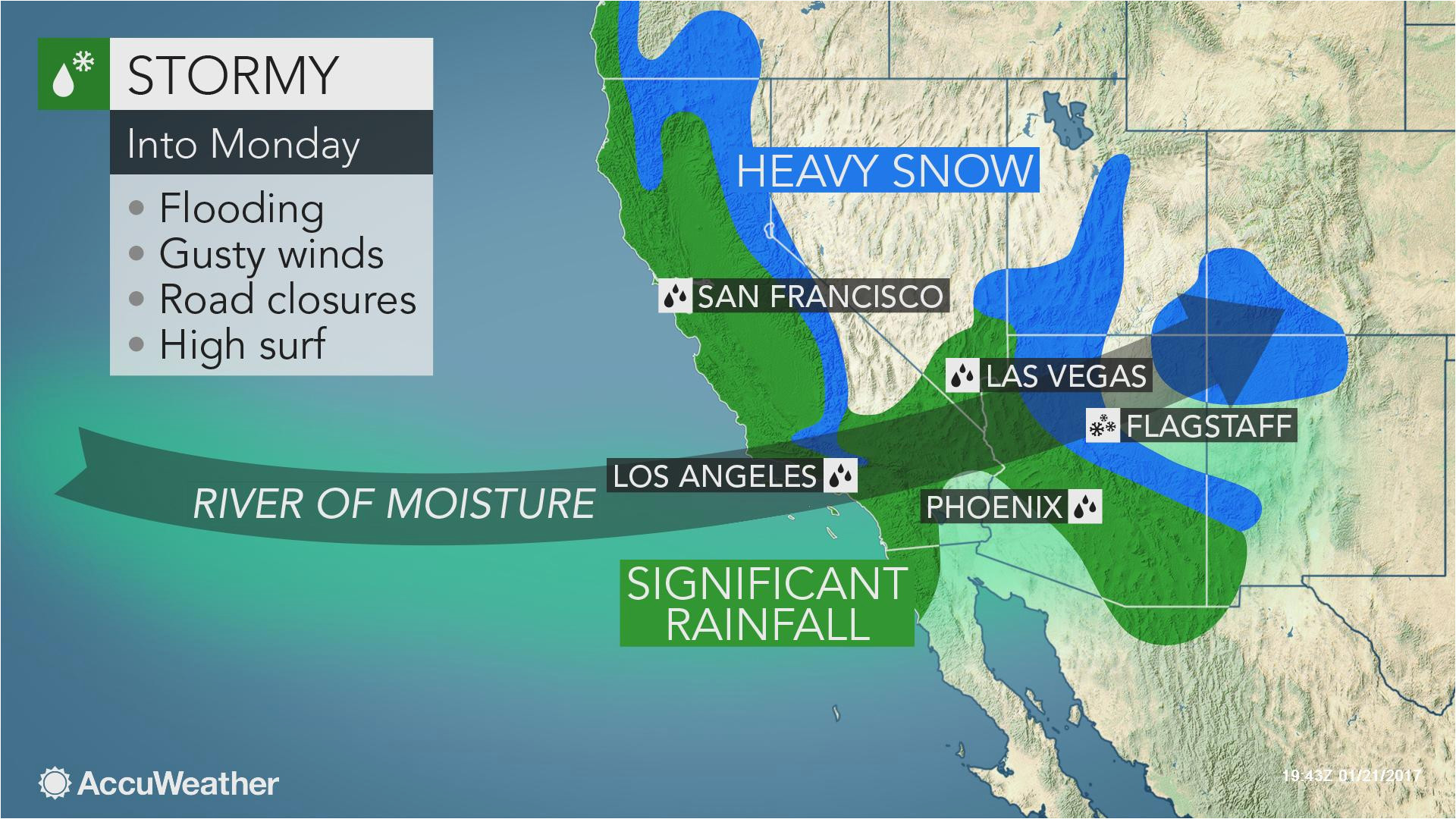 california to face more flooding rain burying mountain snow into monday