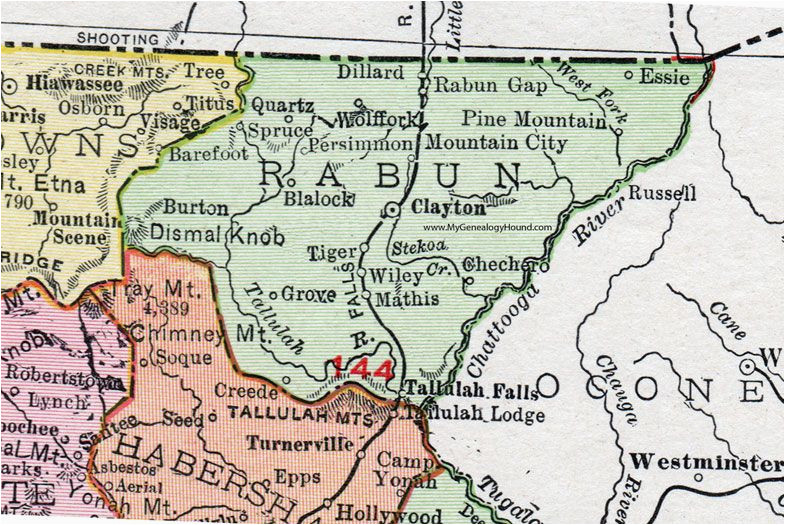 rabun county georgia 1911 map rand mcnally clayton mountain