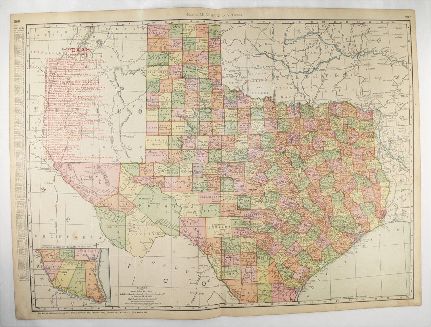 vintage map of texas 1903 very large texas map texas railroad etsy