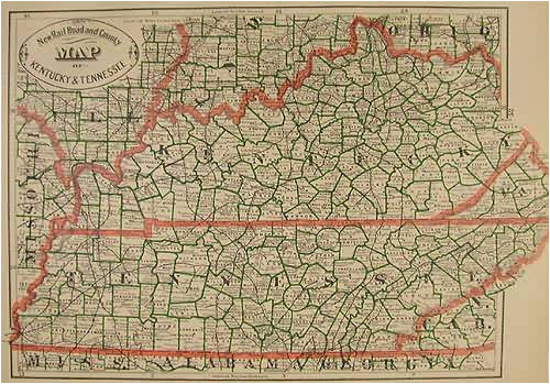 Road Map Of Kentucky and Tennessee Map Of Kentucky and Tennessee Fresh New Rail Road and County Map Of