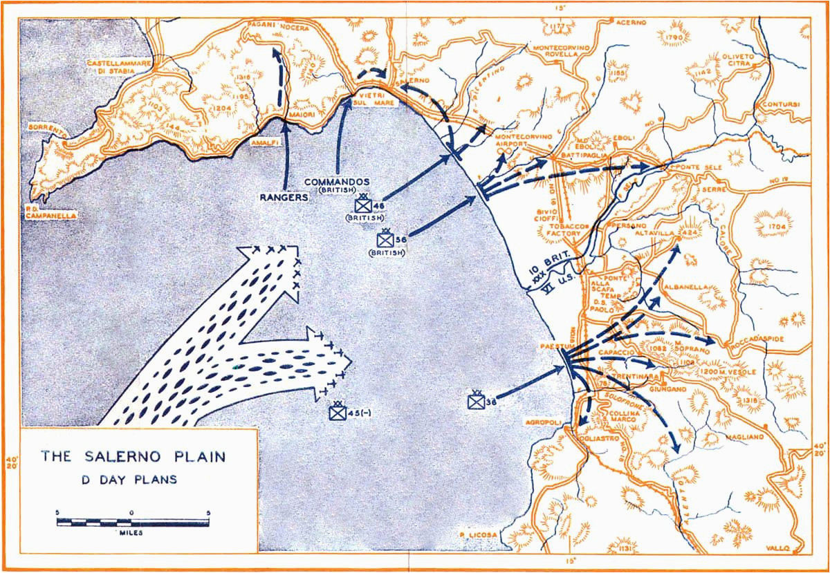 map map depicting operation avalanche against mainland italy 9 sep