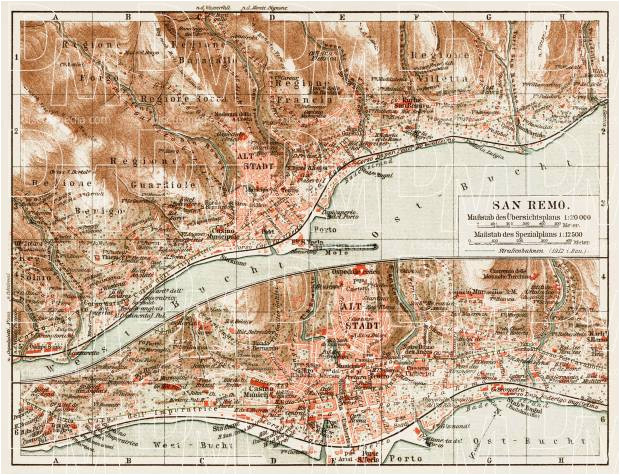 old map of sanremo in 1913 buy vintage map replica poster print or