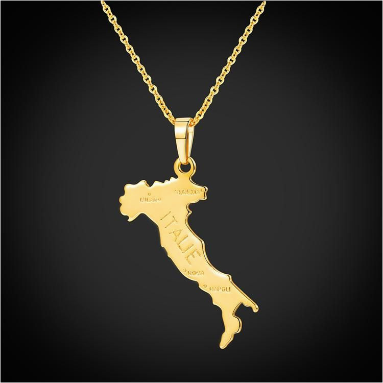 italy map pendant necklace 18k gold plated country shape jewelry for