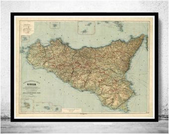 old map of sicily sicilia italia 1891 home is where the heart is