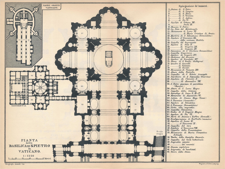 1897 saint peter s basilica vatican italy antique map etsy