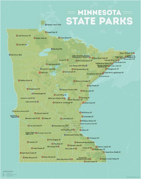 minnesota state parks map 11x14 print best maps ever