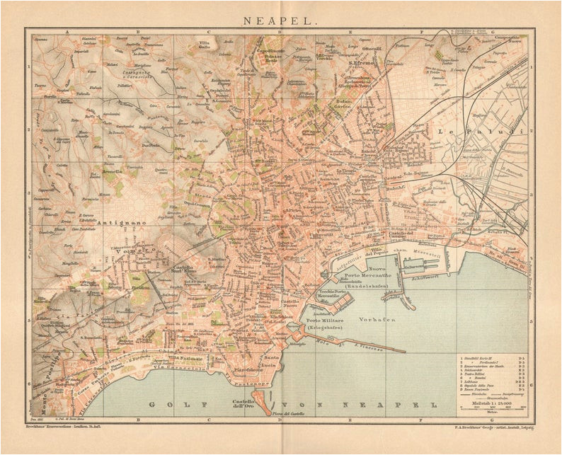 1897 original antique dated city map of naples italy etsy
