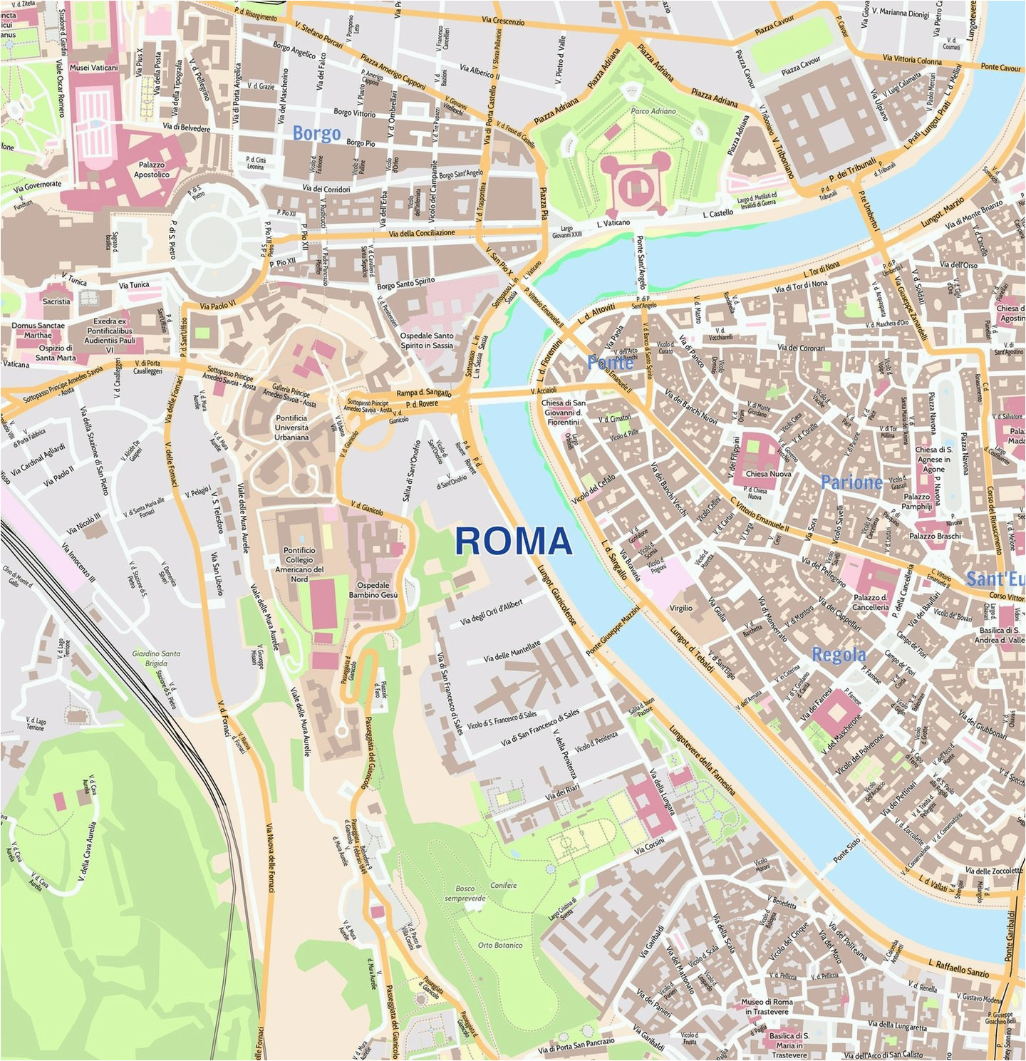 roma city map laminated wall map of rome italy