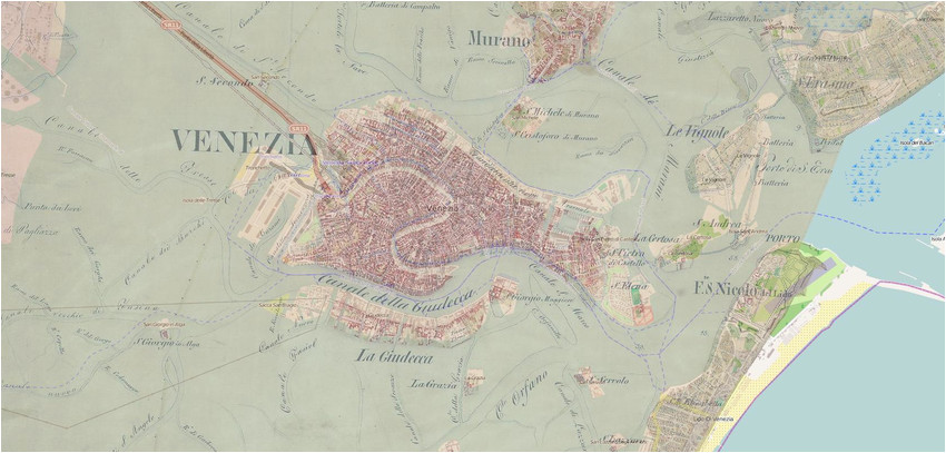 second military survey and open street map of venice italy with 50