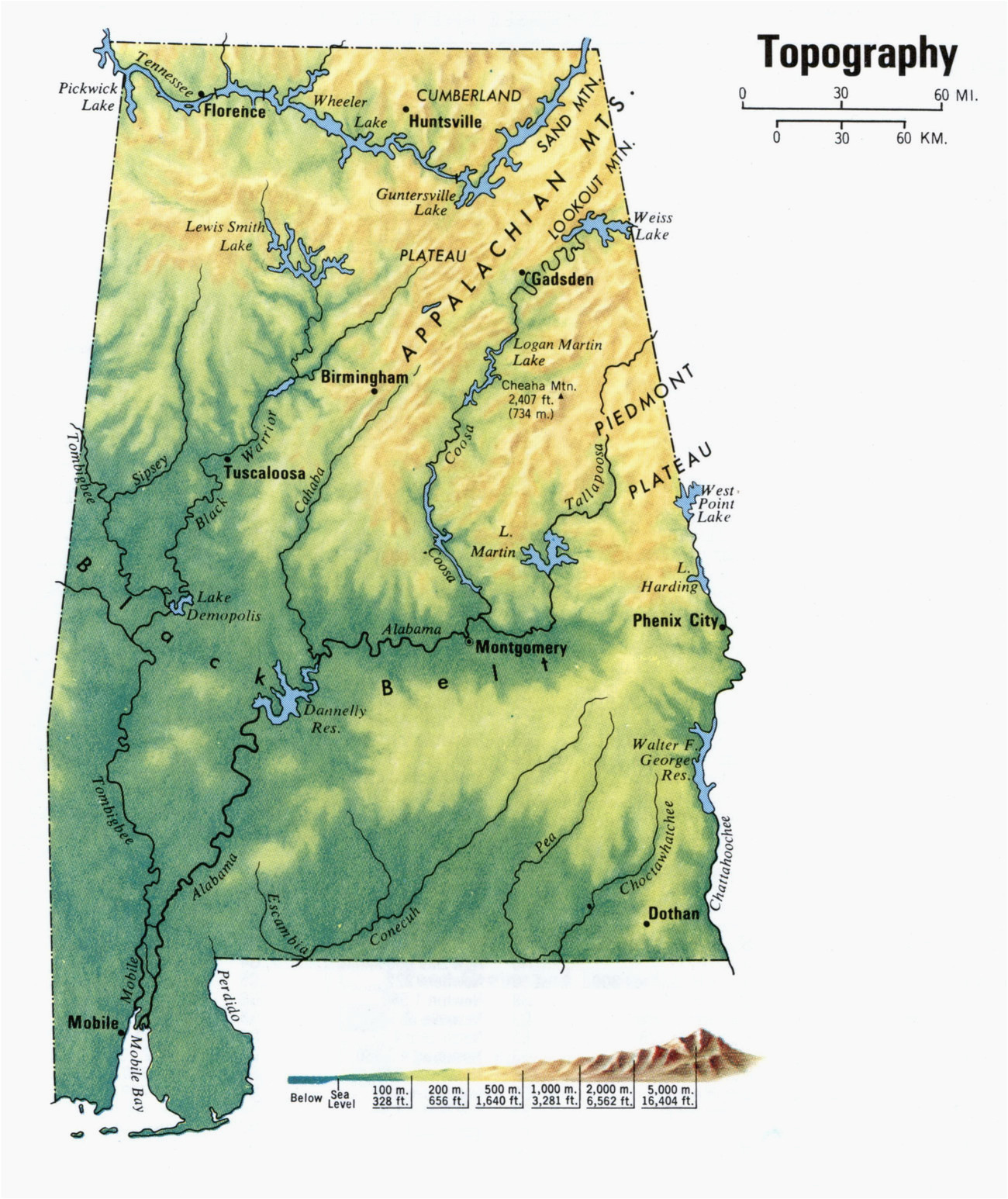Tennessee Elevation Map topographic Map Of Alabama ...